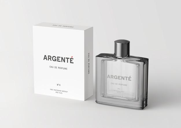 永続的な香水瓶と包装箱のモックアップ Premium Psd