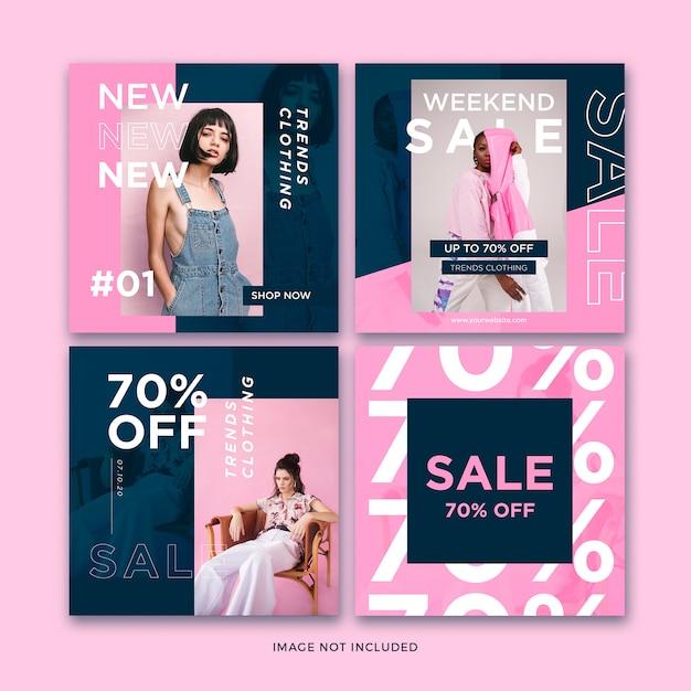 ファッションバナーソーシャルメディア投稿テンプレートコレクション Premium Psd