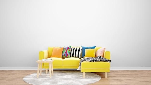 黄色のソファとカーペット、インテリアデザインのアイデアと最小限のリビングルーム 無料 Psd