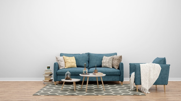 Минимальная гостиная с классическим диваном и ковром, идеи дизайна интерьера Бесплатные Psd