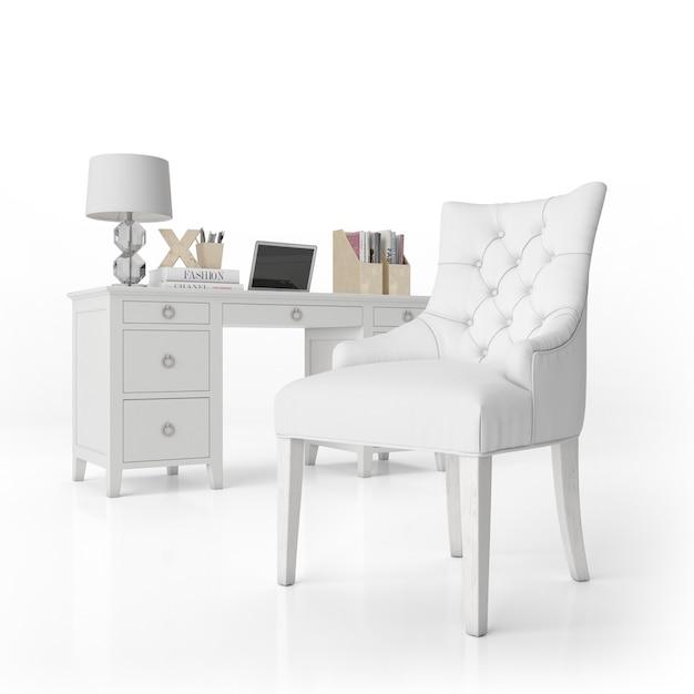 Кресло и письменный стол с канцелярскими товарами Бесплатные Psd