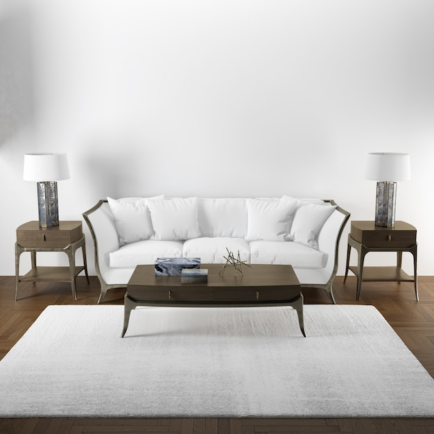 Элегантный дизайн интерьера макета гостиной с деревянной мебелью Бесплатные Psd