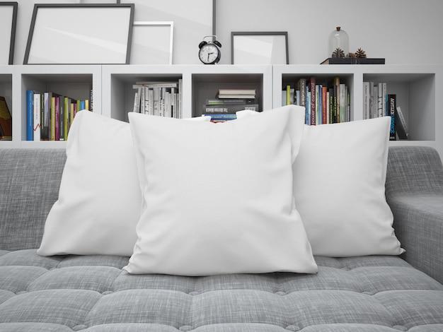 ソファの上の白い空白クッションモックアップ 無料 Psd