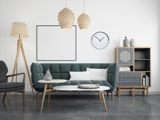 Современная гостиная с диваном и рамой макет Бесплатные Psd