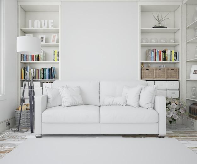 Гостиная с белым диваном Бесплатные Psd