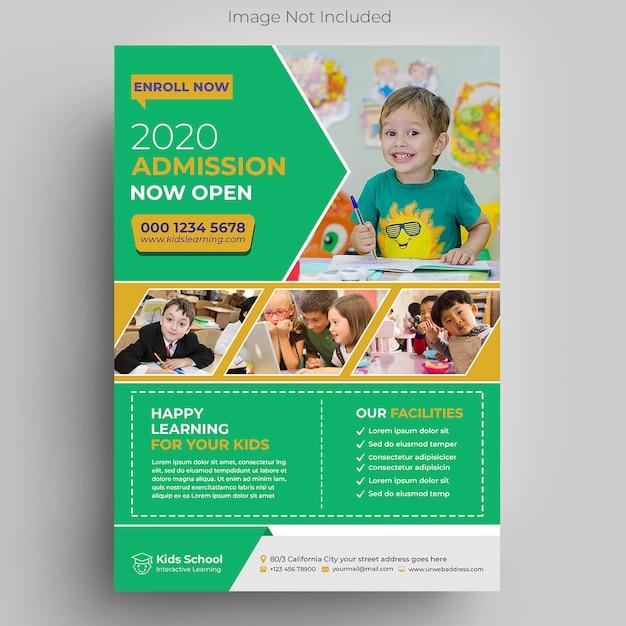 Детский образовательный шаблон флаера Premium Psd