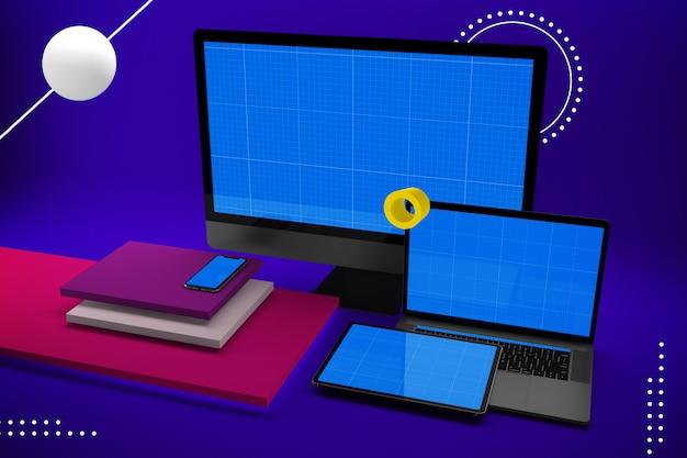 デスクトップコンピューター、ラップトップ、デジタルタブレット、モックアップ画面付きのスマートフォン Premium Psd