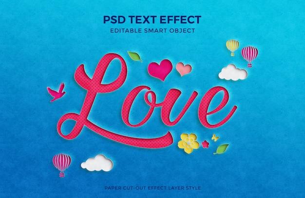 複数の要素を持つ美しい愛紙カットアウトテキスト効果モックアップ。 Premium Psd