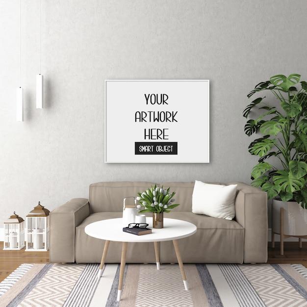 部屋の壁にフレームのモックアップ Premium Psd
