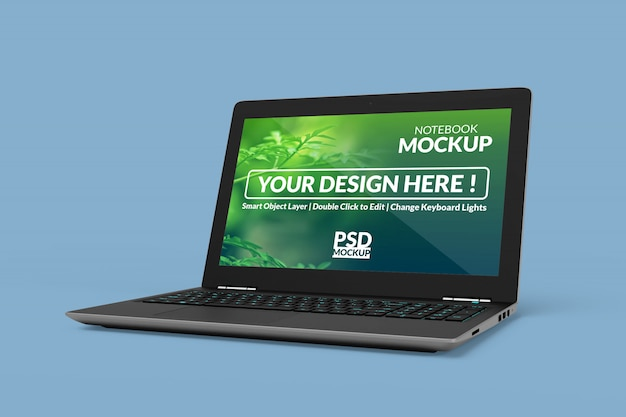 直角等角図のモックアップ画面を備えたノートブックデバイス Premium Psd