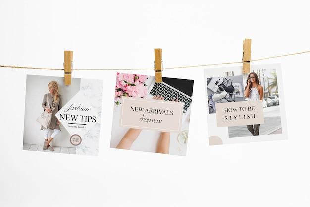 Квадратные карты на веревке с прищепками макет Бесплатные Psd