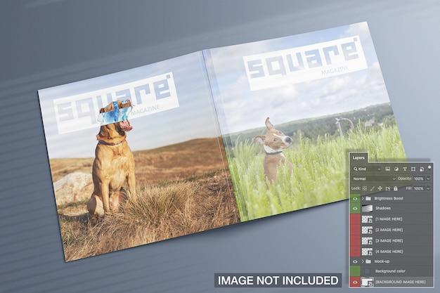 正方形の雑誌の高いビューがモックアップをカバー 無料 Psd