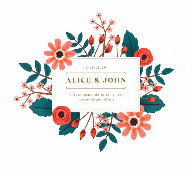 手描きの花の結婚式の招待状 無料 Psd