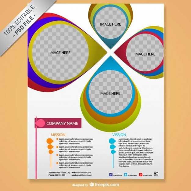 Брошюра макет креативный дизайн Бесплатные Psd