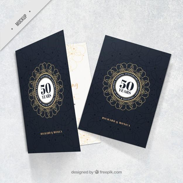 ゴールデン周年エレガントなカード 無料 Psd