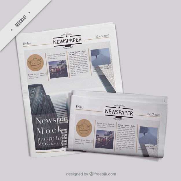 カバー新聞と二つ折りの新聞 無料 Psd