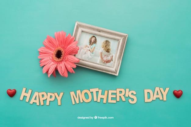 母の日の花とフォトフレーム 無料 Psd