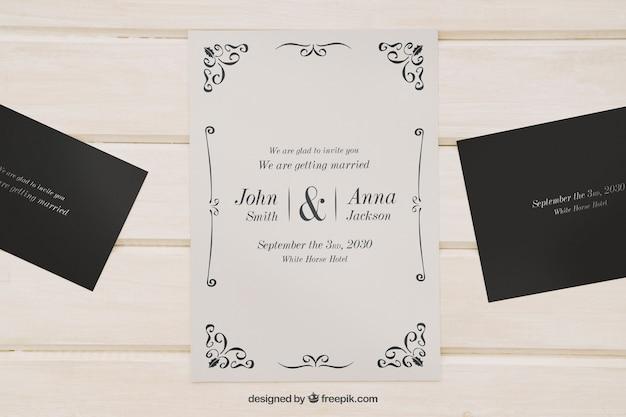 結婚式招待状のためにモックアップ 無料 Psd