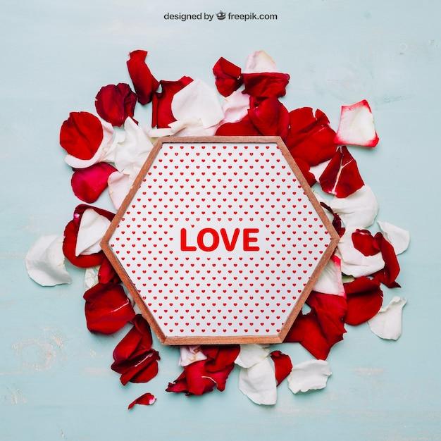 六角形フレームのバレンタインモックアップ 無料 Psd
