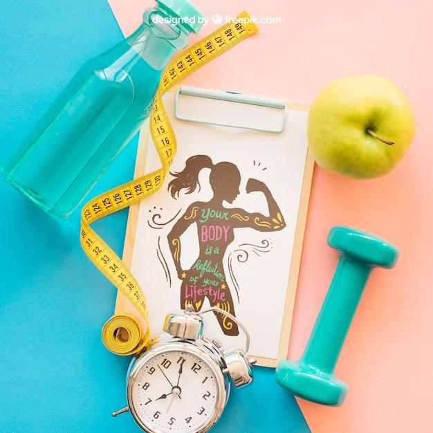 Закрыть фитнес-макет с буфером обмена Бесплатные Psd