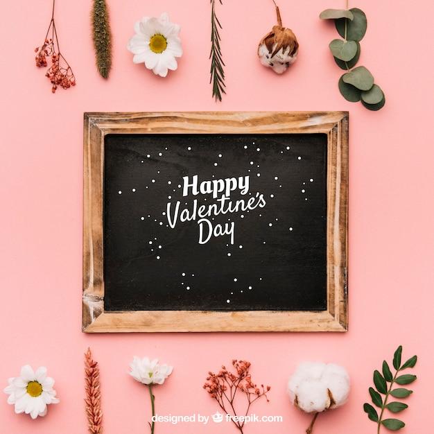 バレンタインフレームモックアップ 無料 Psd