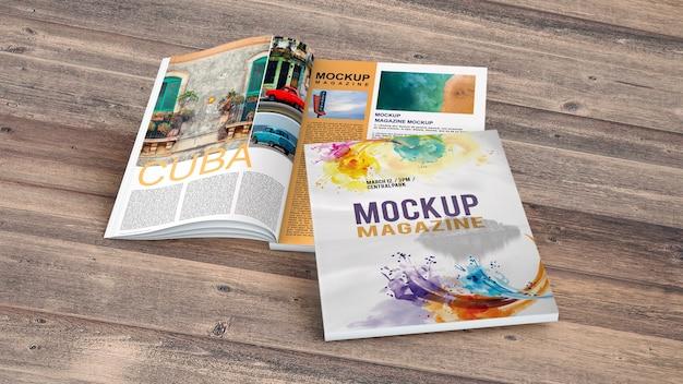 木製テーブル上の雑誌モックアップ 無料 Psd