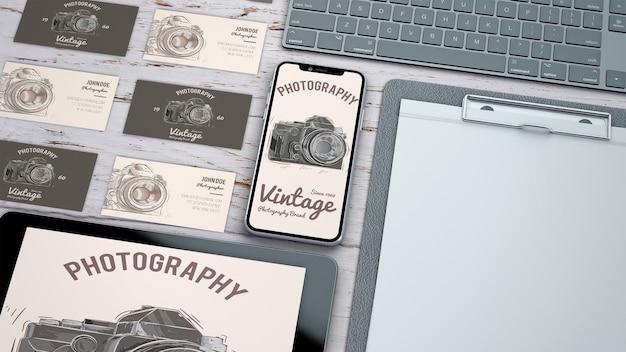 写真コンセプトの創造的な文房具モックアップ 無料 Psd