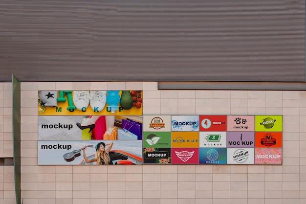 都市壁のビルボードモックアップ 無料 Psd