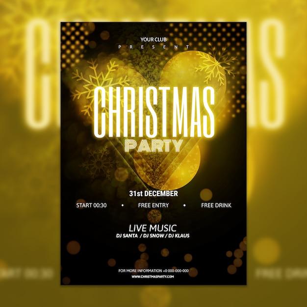 エレガントな金色と黒のクリスマスパーティポスターの模型 無料 Psd