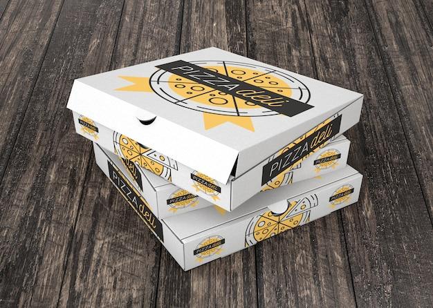 積み重なったピザボックスのモックアップ 無料 Psd
