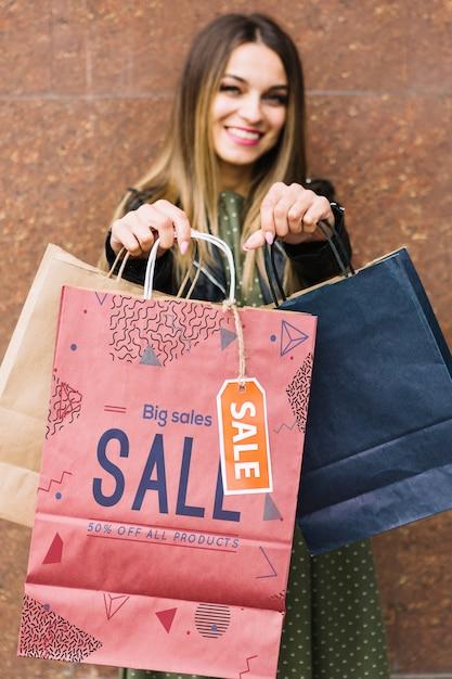 女性、買い物袋 無料 Psd