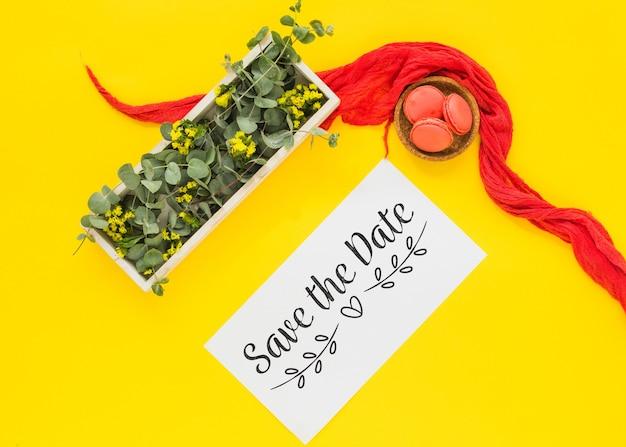 Карта макет с цветочным декором для свадьбы или цитаты Бесплатные Psd