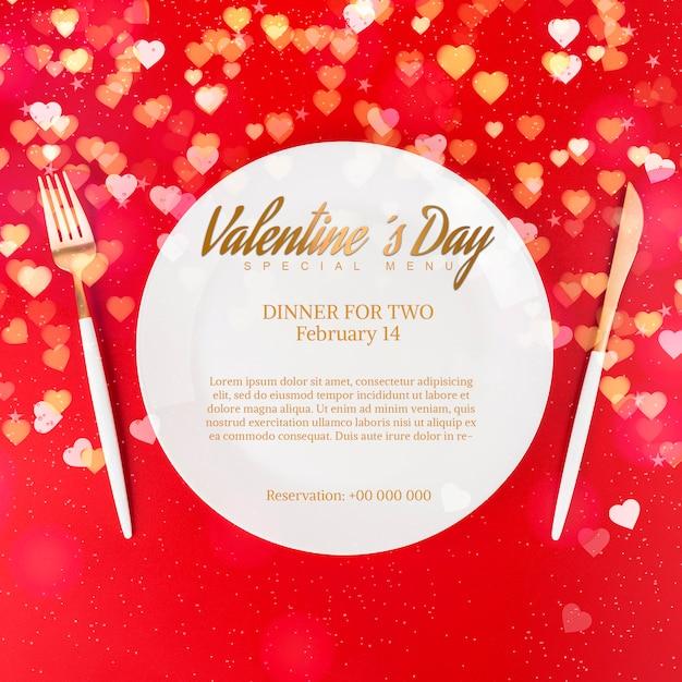 エレガントなバレンタインディナーモックアップ 無料 Psd
