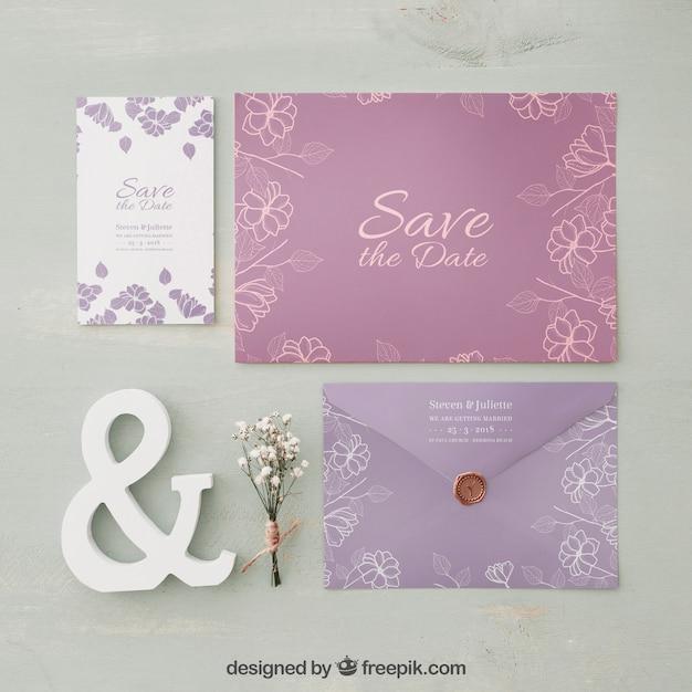 エレガントな結婚式招待状のモックアップ 無料 Psd