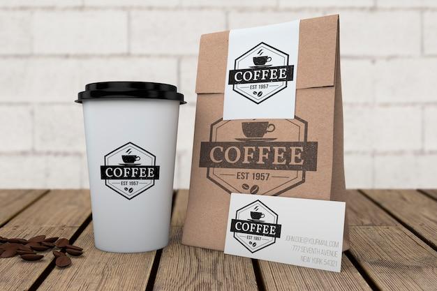 コーヒーショップ用文房具モックアップ 無料 Psd