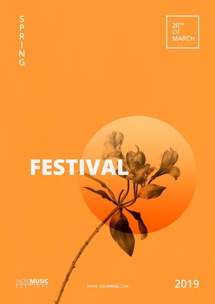 Шаблон плаката весенний фестиваль Бесплатные Psd