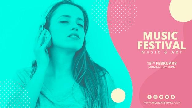 Шаблон баннера абстрактный музыкальный фестиваль Бесплатные Psd