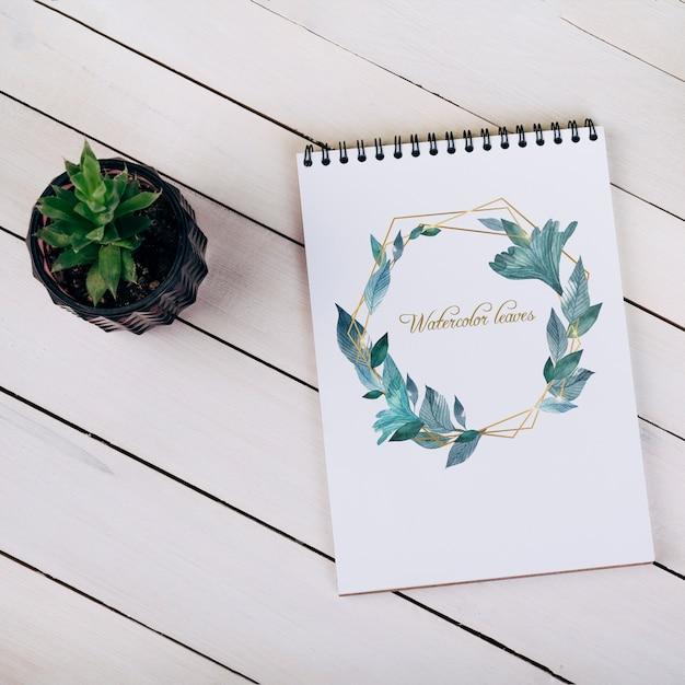 Весенний макет ноутбука с декоративным растением в виде сверху Бесплатные Psd