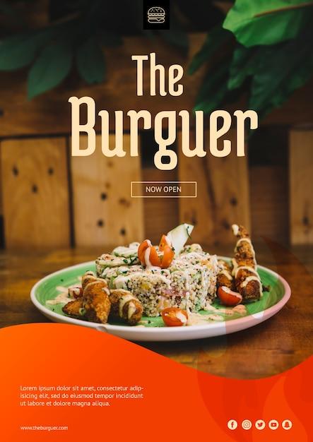 Веб-макет с концепцией гамбургера Бесплатные Psd