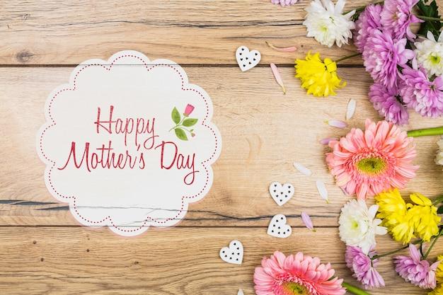 母の日の概念とラベルのモックアップ 無料 Psd