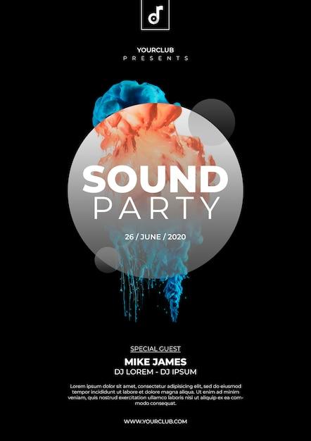 Шаблон оформления звуковой вечеринки Бесплатные Psd