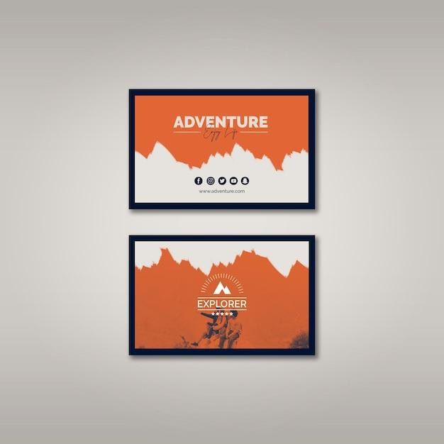 Шаблон визитной карточки с концепцией приключений Бесплатные Psd