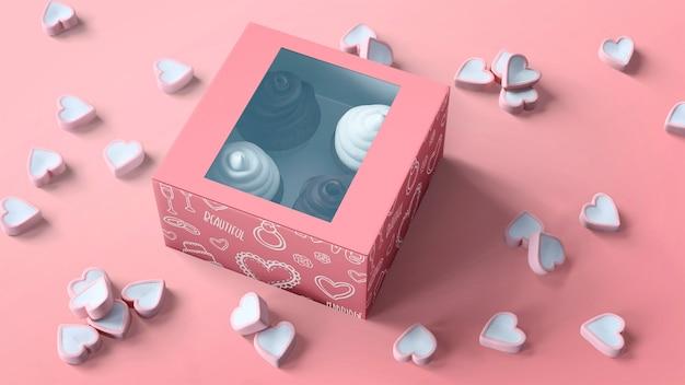 カップケーキの包装とブランディングのモックアップ 無料 Psd
