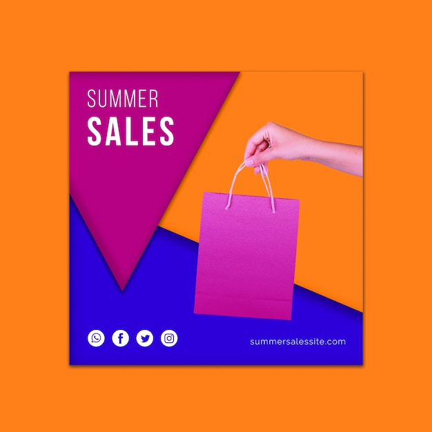 Шаблон обложки летние распродажи Бесплатные Psd