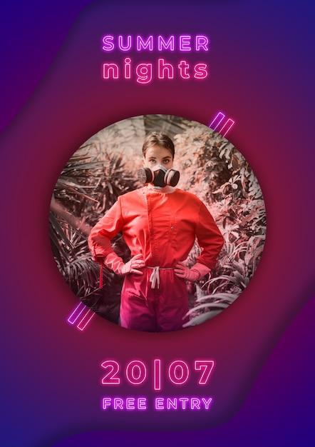 夏の夜パーティーネオンスタイルのバナー 無料 Psd