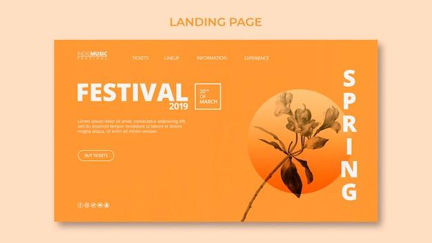 Шаблон целевой страницы с концепцией весеннего фестиваля Бесплатные Psd