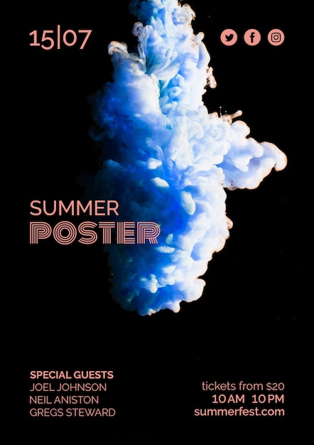 夏祭りのポスターテンプレート 無料 Psd