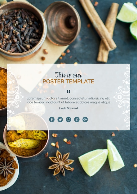 Современная индийская еда плакат шаблон Бесплатные Psd