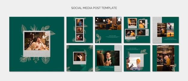 Элегантные шаблоны постов в социальных сетях для свадьбы Бесплатные Psd