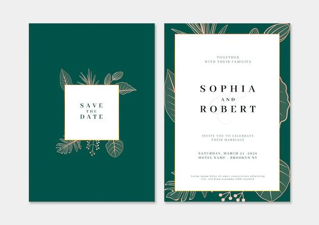自然の概念とエレガントな結婚式の招待カード 無料 Psd